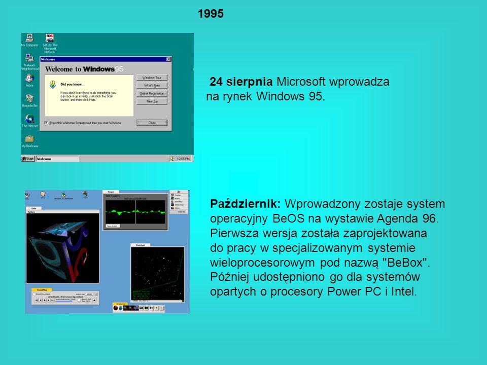 1995 24 sierpnia Microsoft wprowadza na rynek Windows 95. Październik: Wprowadzony zostaje system operacyjny BeOS na wystawie Agenda 96. Pierwsza wers