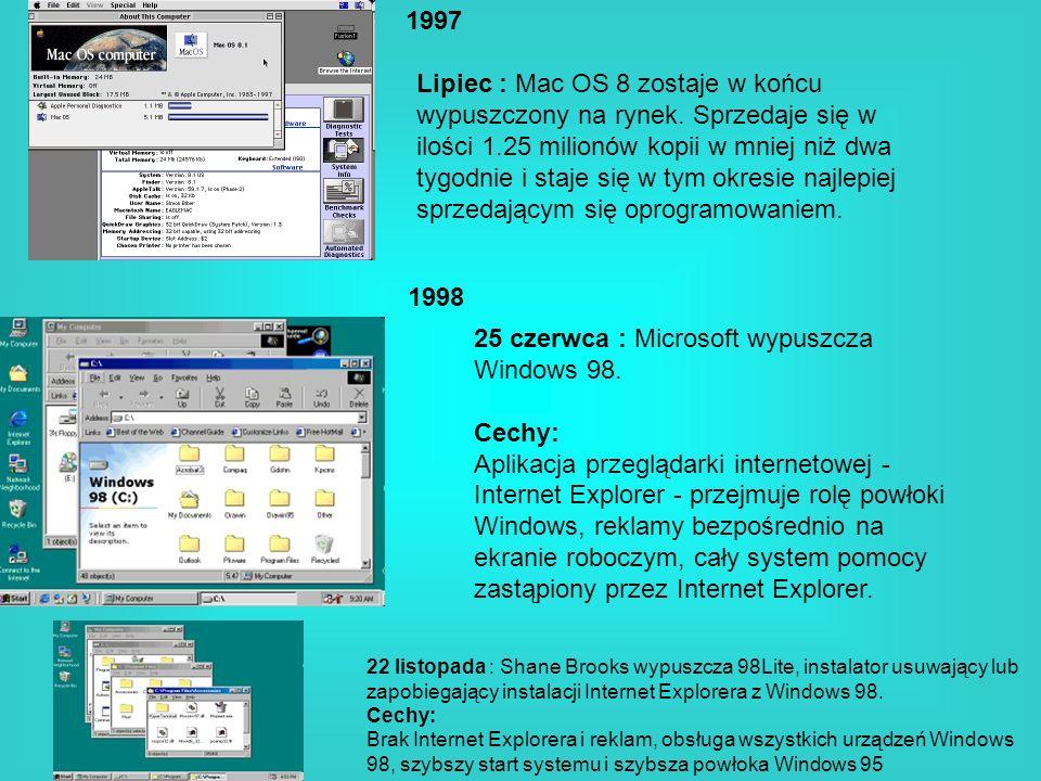 1997 1998 Lipiec : Mac OS 8 zostaje w końcu wypuszczony na rynek. Sprzedaje się w ilości 1.25 milionów kopii w mniej niż dwa tygodnie i staje się w ty