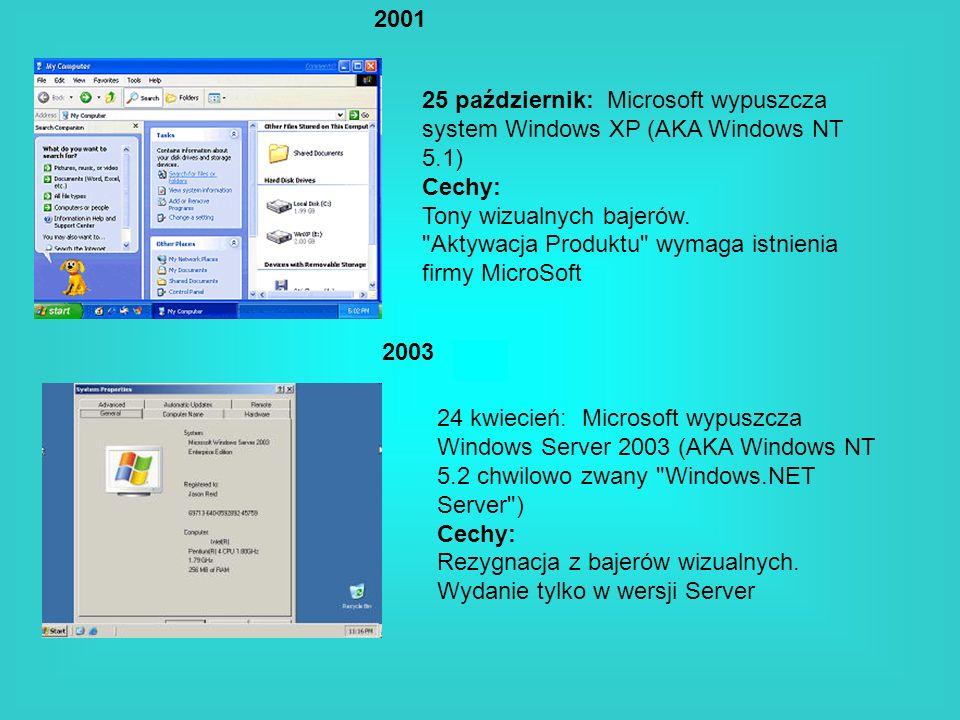 2001 2003 25 październik: Microsoft wypuszcza system Windows XP (AKA Windows NT 5.1) Cechy: Tony wizualnych bajerów.