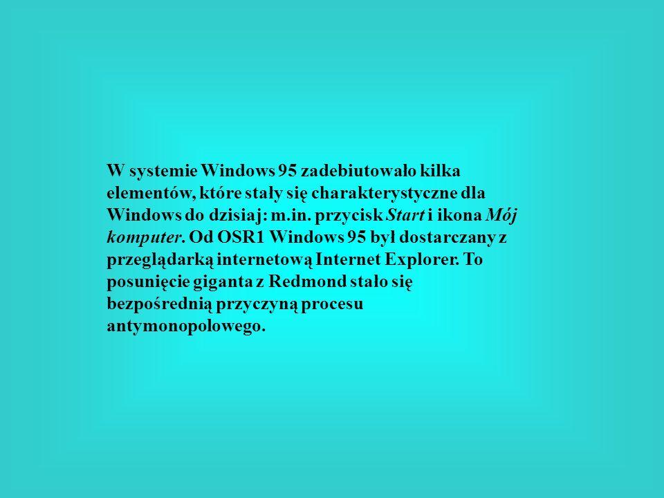 W systemie Windows 95 zadebiutowało kilka elementów, które stały się charakterystyczne dla Windows do dzisiaj: m.in. przycisk Start i ikona Mój komput