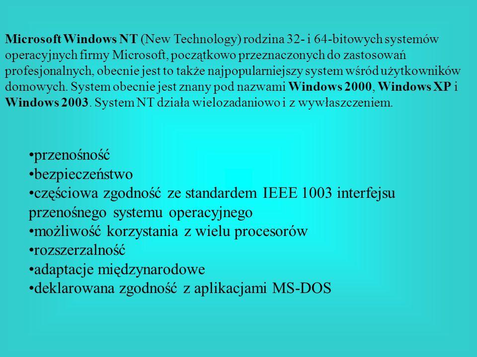 Microsoft Windows NT (New Technology) rodzina 32- i 64-bitowych systemów operacyjnych firmy Microsoft, początkowo przeznaczonych do zastosowań profesj