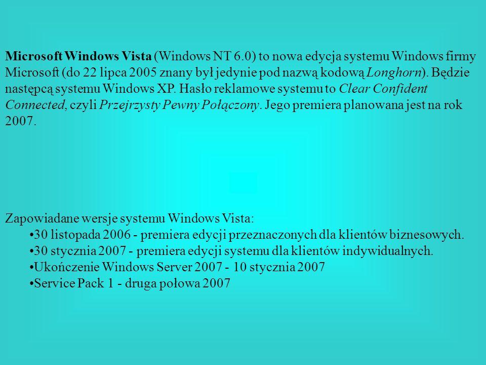 Microsoft Windows Vista (Windows NT 6.0) to nowa edycja systemu Windows firmy Microsoft (do 22 lipca 2005 znany był jedynie pod nazwą kodową Longhorn)