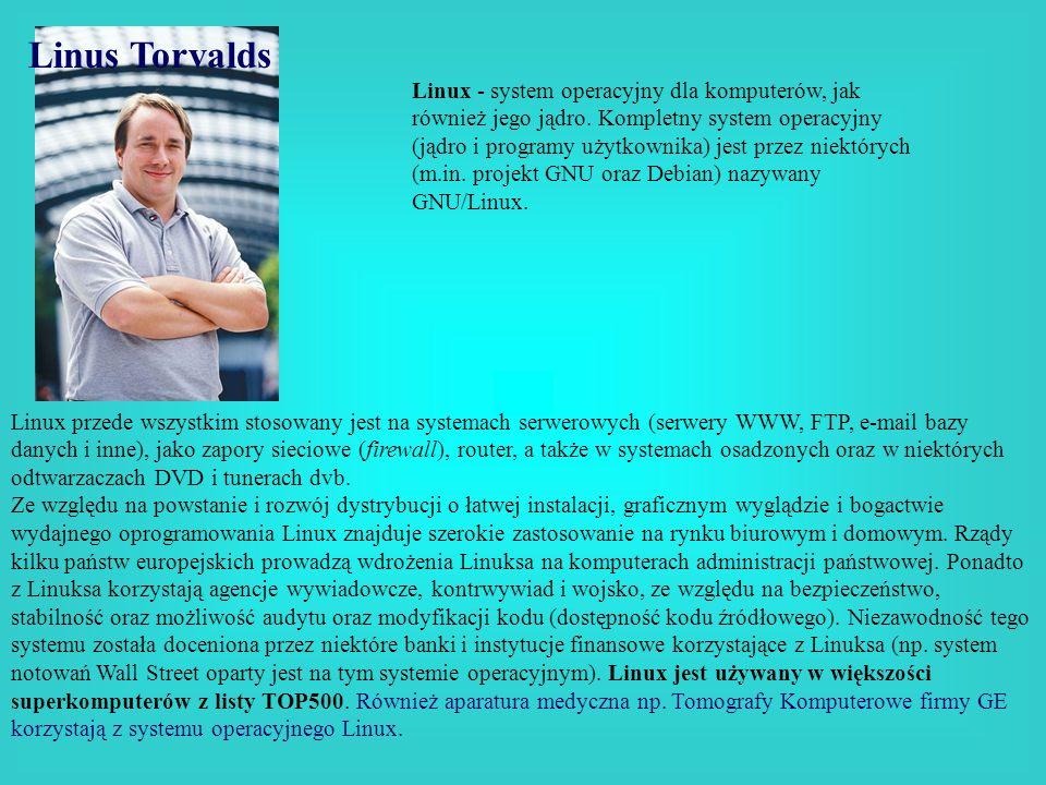 Linus Torvalds Linux - system operacyjny dla komputerów, jak również jego jądro. Kompletny system operacyjny (jądro i programy użytkownika) jest przez