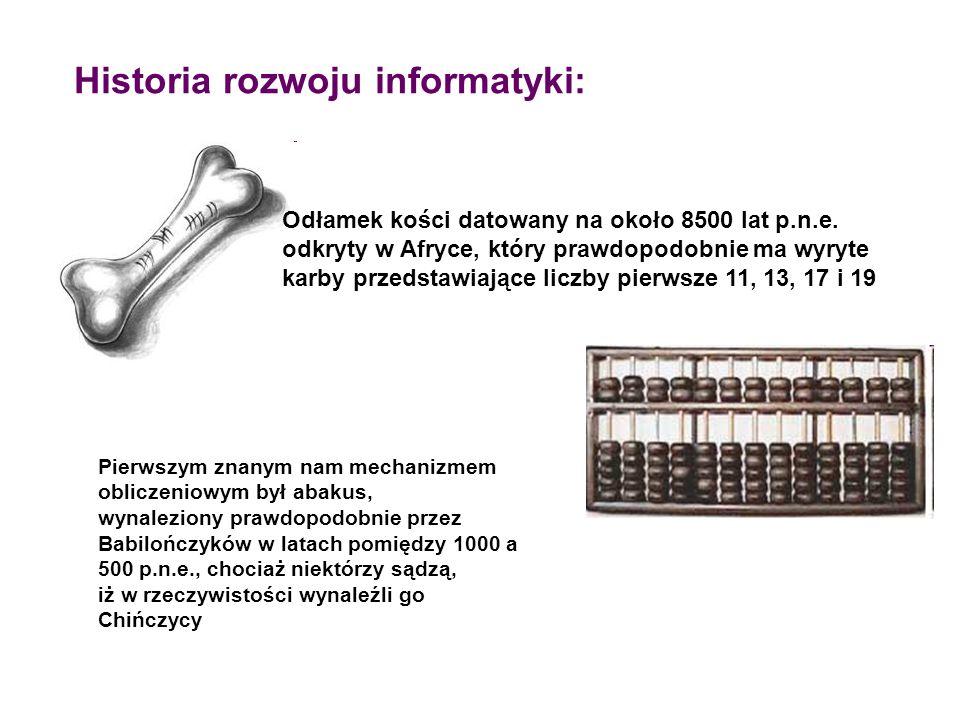 Historia rozwoju informatyki: Odłamek kości datowany na około 8500 lat p.n.e. odkryty w Afryce, który prawdopodobnie ma wyryte karby przedstawiające l