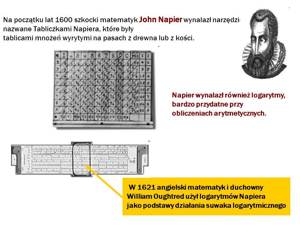 Na początku lat 1600 szkocki matematyk John Napier wynalazł narzędzie nazwane Tabliczkami Napiera, które były tablicami mnożeń wyrytymi na pasach z dr