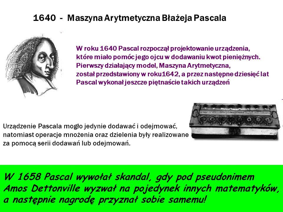 W roku 1640 Pascal rozpoczął projektowanie urządzenia, które miało pomóc jego ojcu w dodawaniu kwot pieniężnych. Pierwszy działający model, Maszyna Ar