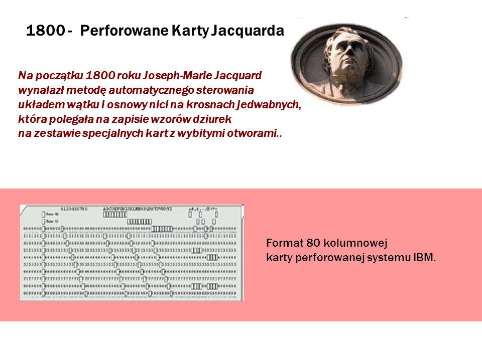 1800 - Perforowane Karty Jacquarda Na początku 1800 roku Joseph-Marie Jacquard wynalazł metodę automatycznego sterowania układem wątku i osnowy nici n
