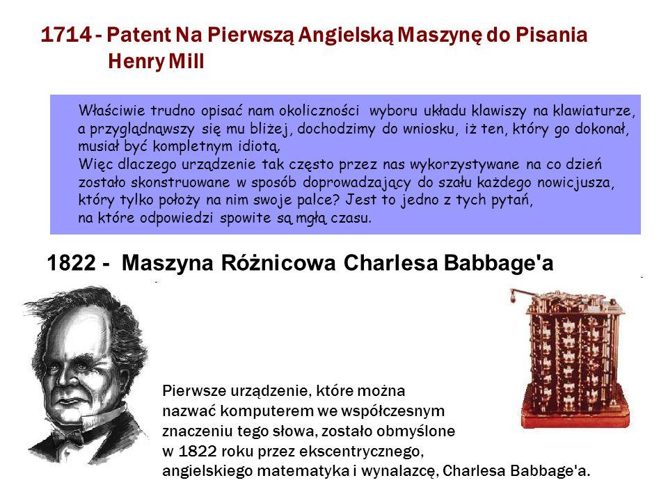 1714 - Patent Na Pierwszą Angielską Maszynę do Pisania Henry Mill Właściwie trudno opisać nam okoliczności wyboru układu klawiszy na klawiaturze, a pr