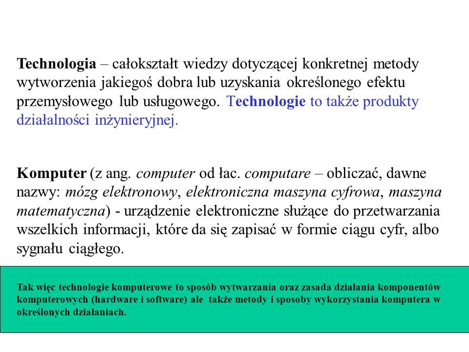 Technologia – całokształt wiedzy dotyczącej konkretnej metody wytworzenia jakiegoś dobra lub uzyskania określonego efektu przemysłowego lub usługowego