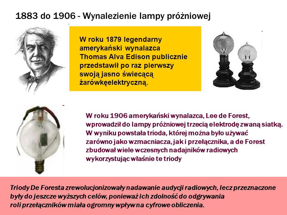 1883 do 1906 - Wynalezienie lampy próżniowej W roku 1879 legendarny amerykański wynalazca Thomas Alva Edison publicznie przedstawił po raz pierwszy sw