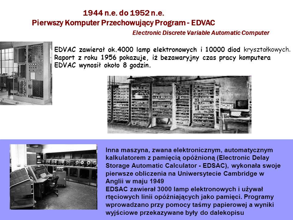 1944 n.e. do 1952 n.e. Pierwszy Komputer Przechowujący Program - EDVAC Electronic Discrete Variable Automatic Computer EDVAC zawierał ok.4000 lamp ele