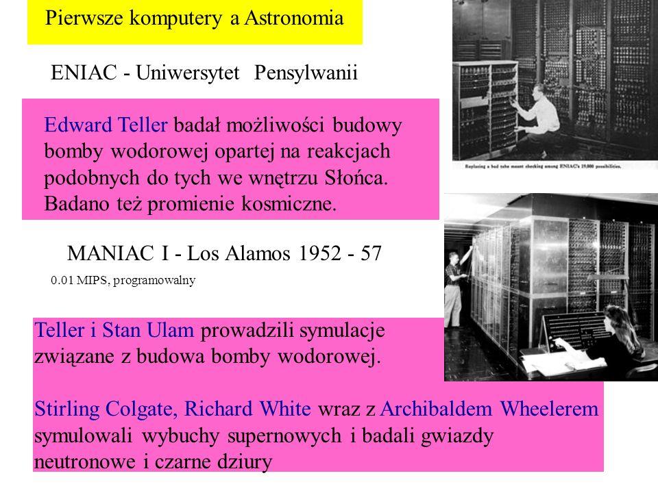 ENIAC - Uniwersytet Pensylwanii Pierwsze komputery a Astronomia Edward Teller badał możliwości budowy bomby wodorowej opartej na reakcjach podobnych d