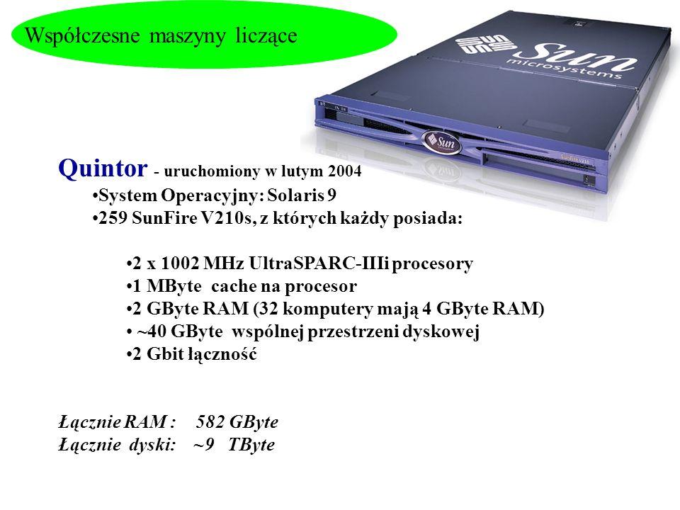 Współczesne maszyny liczące Quintor - uruchomiony w lutym 2004 System Operacyjny: Solaris 9 259 SunFire V210s, z których każdy posiada: 2 x 1002 MHz U