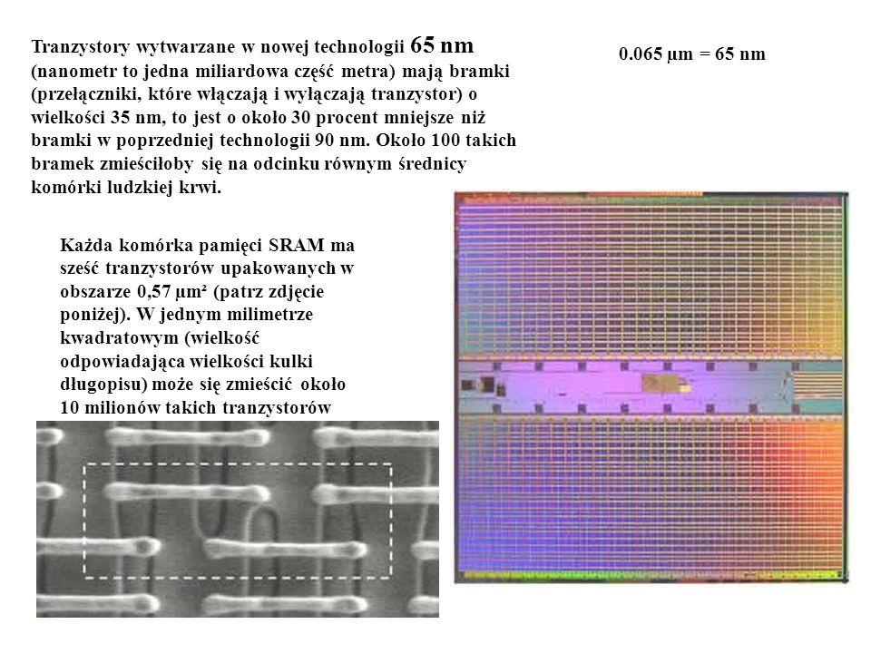 Tranzystory wytwarzane w nowej technologii 65 nm (nanometr to jedna miliardowa część metra) mają bramki (przełączniki, które włączają i wyłączają tran