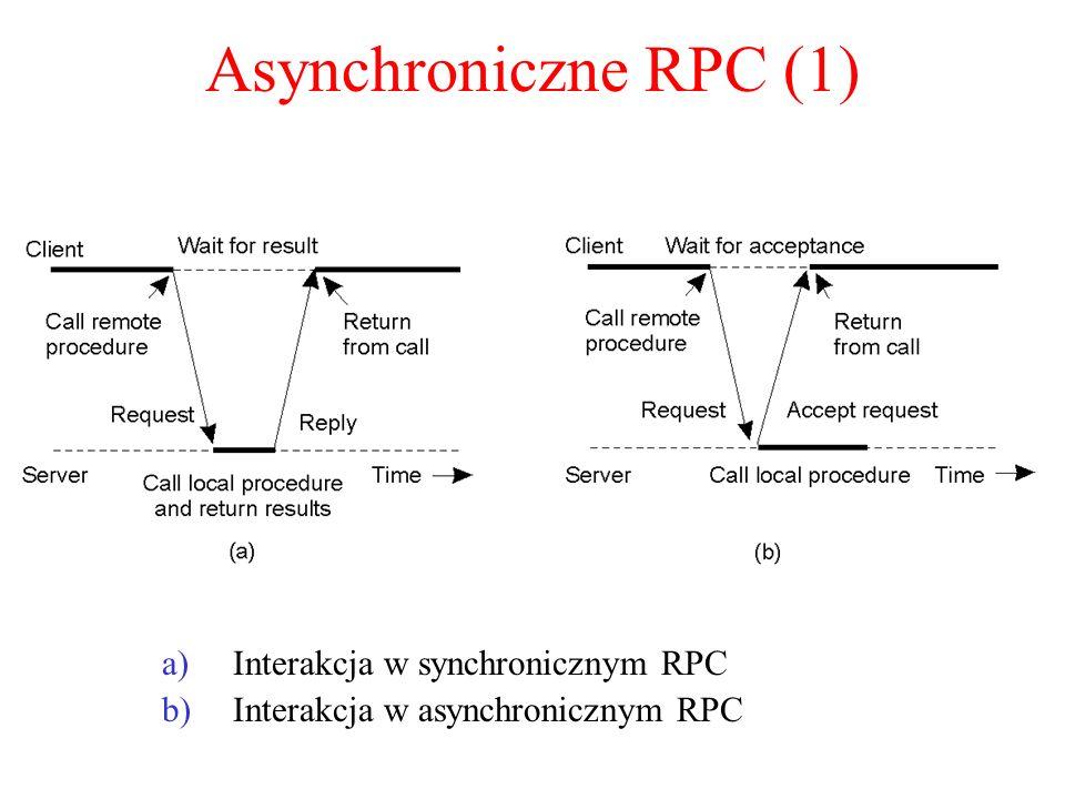 Asynchroniczne RPC (1) a)Interakcja w synchronicznym RPC b)Interakcja w asynchronicznym RPC 2-12