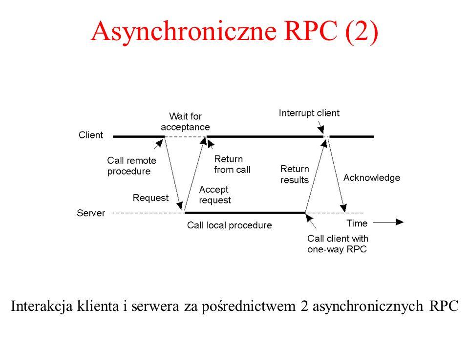 Asynchroniczne RPC (2) Interakcja klienta i serwera za pośrednictwem 2 asynchronicznych RPC 2-13