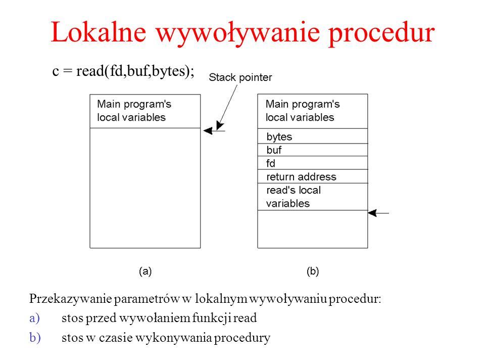 Wiązanie klienta z obiektem a)(a) Wiązanie niejawne przy użyciu referencji globalnej b)(b) Wiązanie jawne przy użyciu referencji globalnej i lokalnej Distr_object* obj_ref;// Deklaracja ogólnosystemowej referencji obj_ref = …;// Inicjalizacja referencji do obiektu rozproszonego obj_ref-> do_something();// Niejawne wiązanie i wywołanie metody (a) Distr_object objPref;// Deklaracja ogólnosystemowej referencji Local_object* obj_ptr;// Deklaracja wskaźnika do obiektu lokalnego obj_ref = …;// Inicjalizacja referencji do obiektu rozproszonego obj_ptr = bind(obj_ref);// Jawne wiązanie i otrzymanie wskaźnika do proxy obj_ptr -> do_something();// Wywołanie metody przy użyciu lokalnego pośrednika (b)