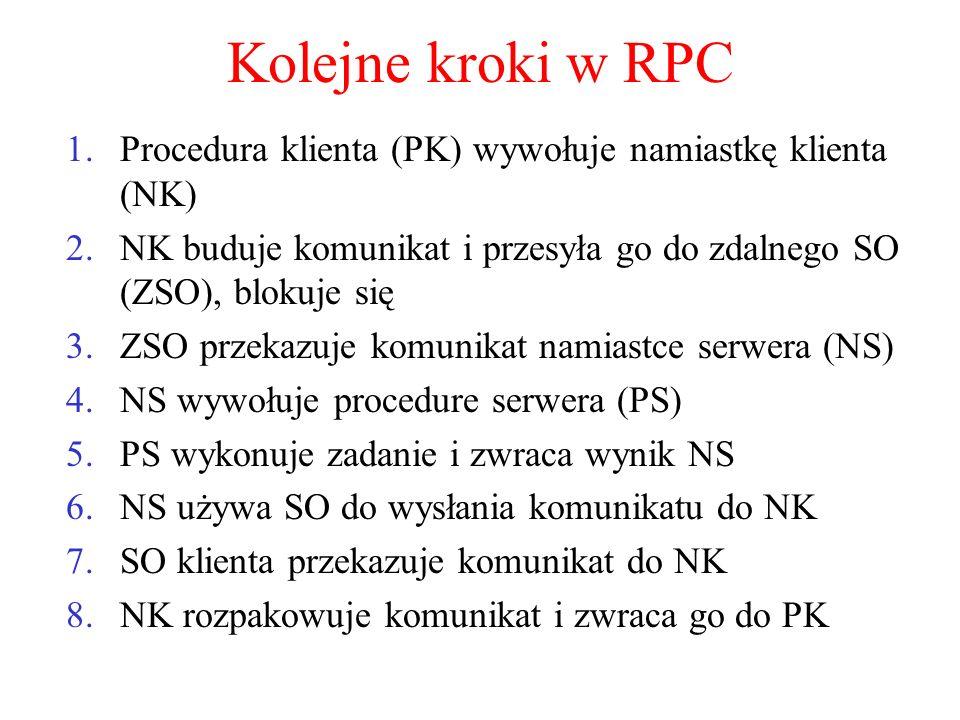 Kolejne kroki w RPC 1.Procedura klienta (PK) wywołuje namiastkę klienta (NK) 2.NK buduje komunikat i przesyła go do zdalnego SO (ZSO), blokuje się 3.Z