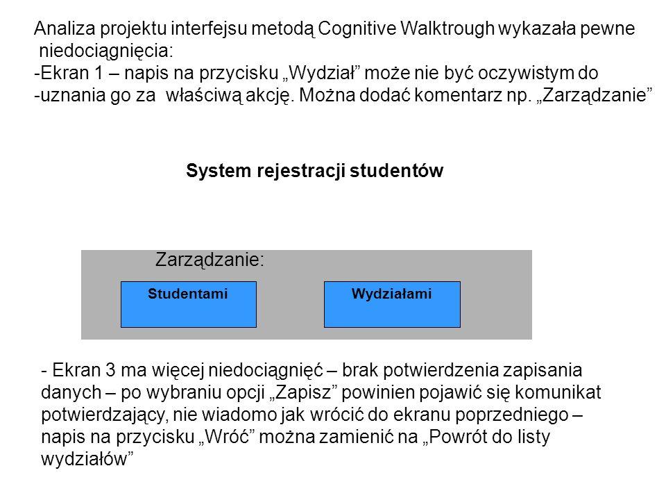 Analiza projektu interfejsu metodą Cognitive Walktrough wykazała pewne niedociągnięcia: -Ekran 1 – napis na przycisku Wydział może nie być oczywistym do -uznania go za właściwą akcję.