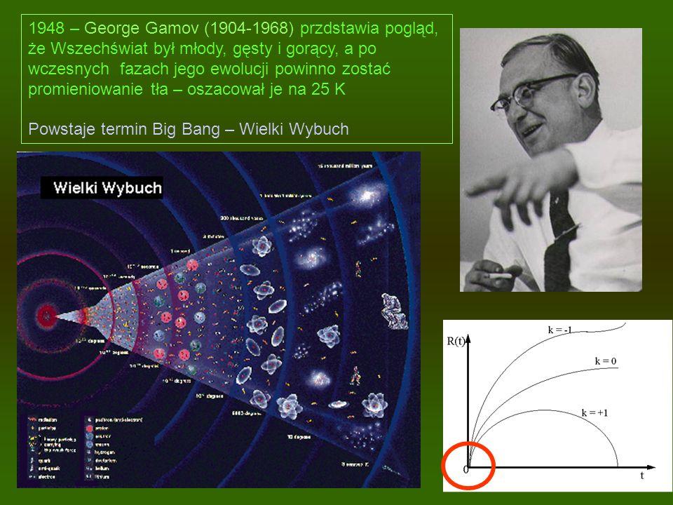 1948 – George Gamov (1904-1968) przdstawia pogląd, że Wszechświat był młody, gęsty i gorący, a po wczesnych fazach jego ewolucji powinno zostać promie