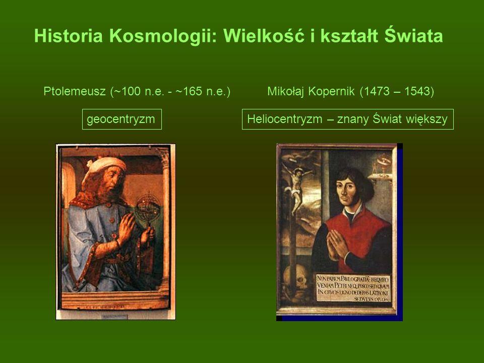 Historia Kosmologii: Wielkość i kształt Świata Ptolemeusz (~100 n.e. - ~165 n.e.) Mikołaj Kopernik (1473 – 1543) geocentryzmHeliocentryzm – znany Świa