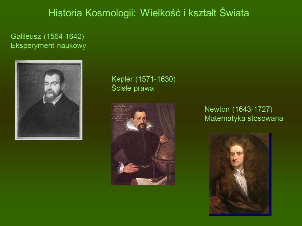 Historia Kosmologii: Wielkość i kształt Świata Galileusz (1564-1642) Eksperyment naukowy Kepler (1571-1630) Ścisłe prawa Newton (1643-1727) Matematyka