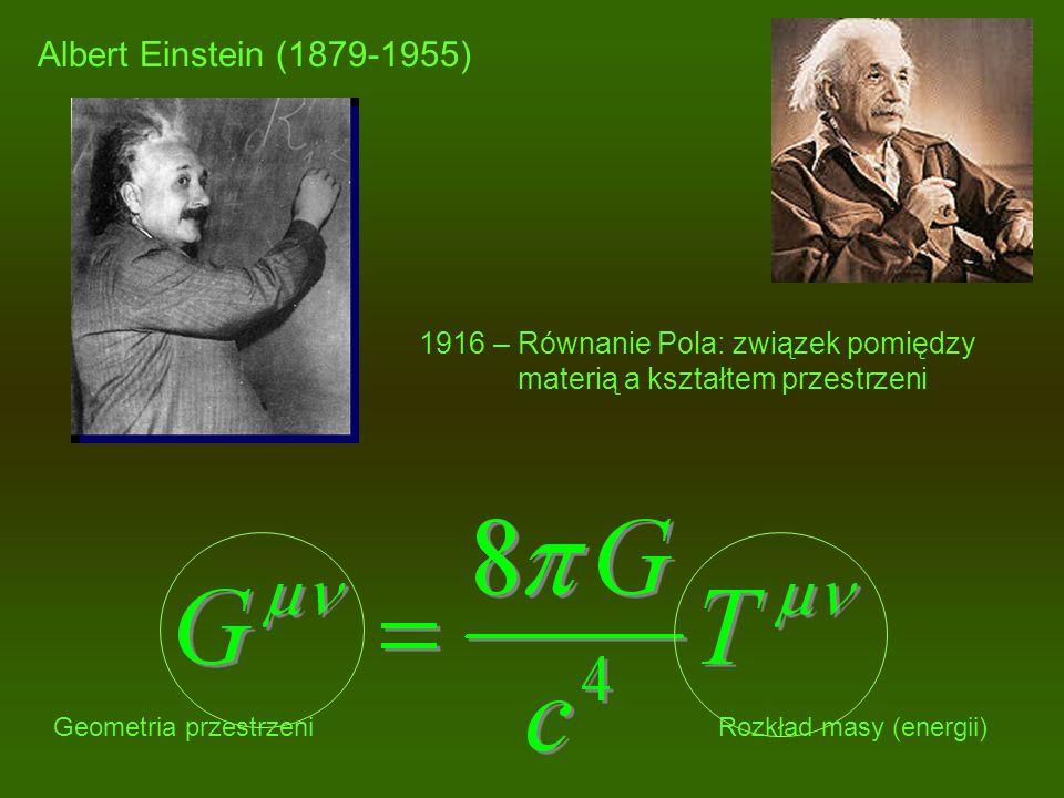 Albert Einstein (1879-1955) 1916 – Równanie Pola: związek pomiędzy materią a kształtem przestrzeni Geometria przestrzeniRozkład masy (energii)