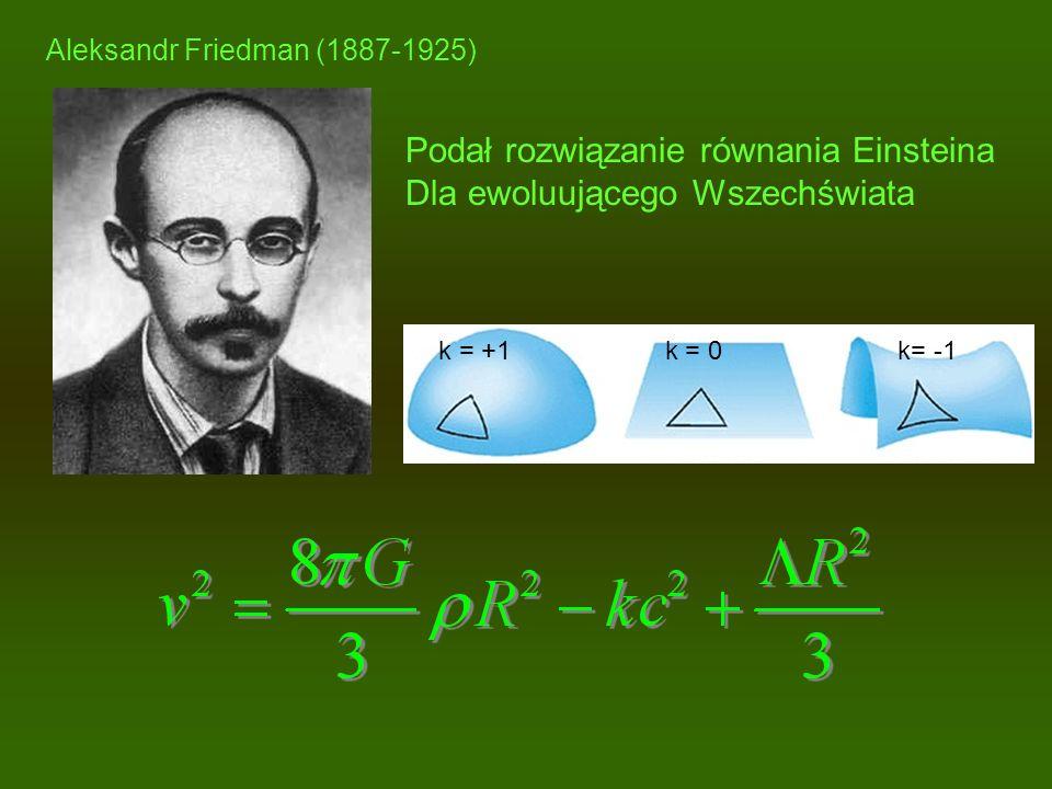 Aleksandr Friedman (1887-1925) Podał rozwiązanie równania Einsteina Dla ewoluującego Wszechświata k = +1 k = 0 k= -1