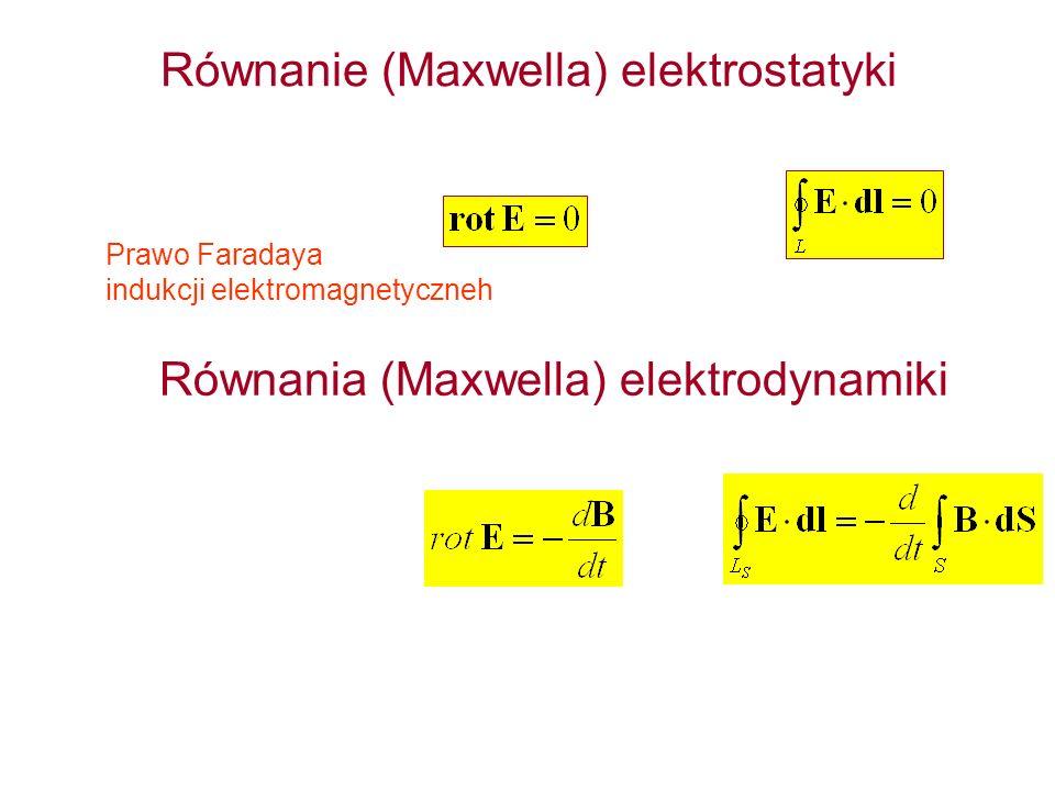 Równanie (Maxwella) elektrostatyki Prawo Faradaya indukcji elektromagnetyczneh Równania (Maxwella) elektrodynamiki
