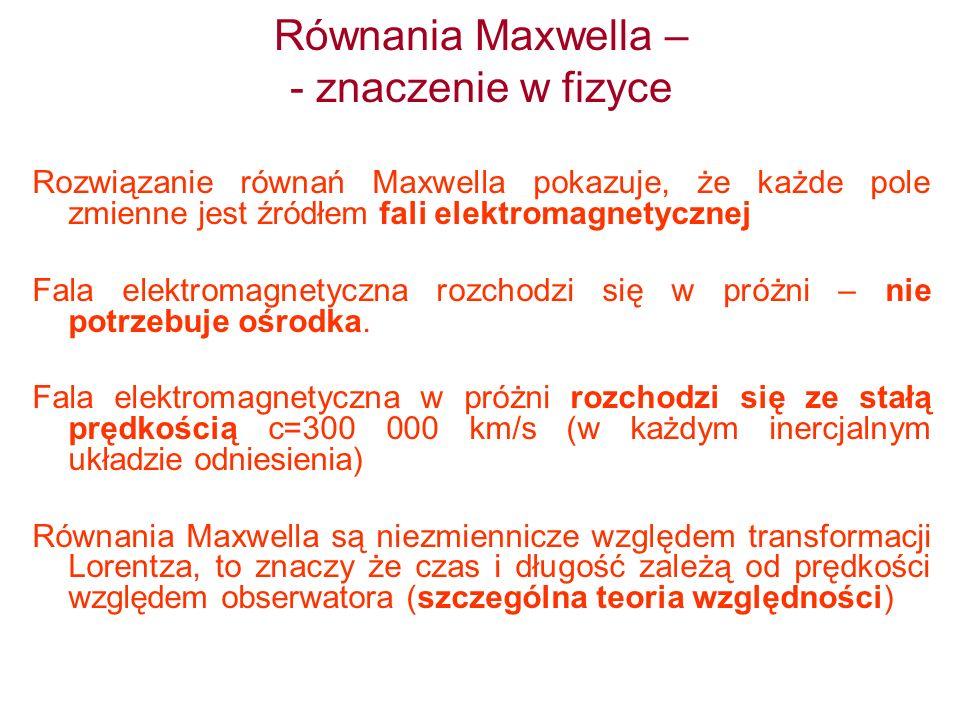 Równania Maxwella – - znaczenie w fizyce Rozwiązanie równań Maxwella pokazuje, że każde pole zmienne jest źródłem fali elektromagnetycznej Fala elektr
