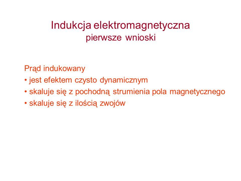 Indukcja elektromagnetyczna pierwsze wnioski Prąd indukowany jest efektem czysto dynamicznym skaluje się z pochodną strumienia pola magnetycznego skal