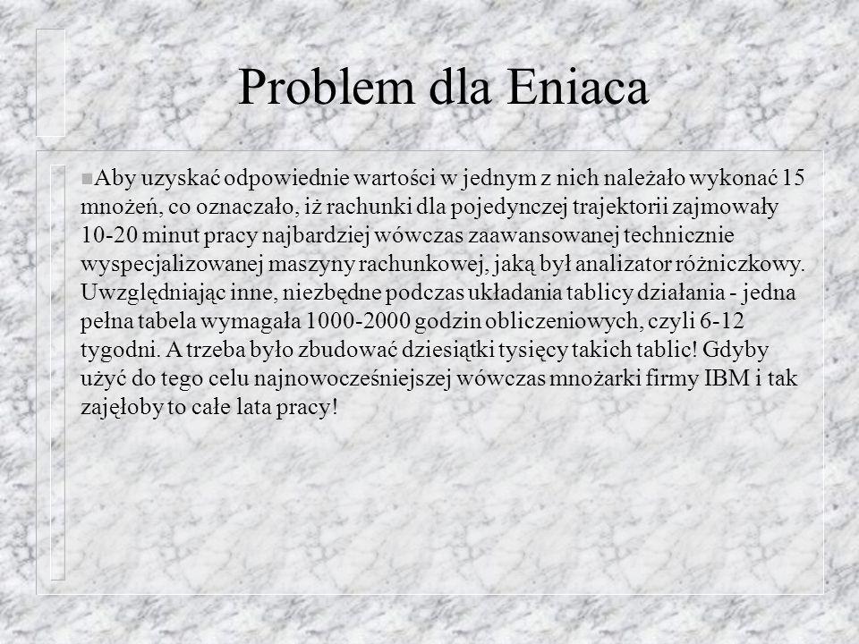 Problem dla Eniaca n Aby uzyskać odpowiednie wartości w jednym z nich należało wykonać 15 mnożeń, co oznaczało, iż rachunki dla pojedynczej trajektori