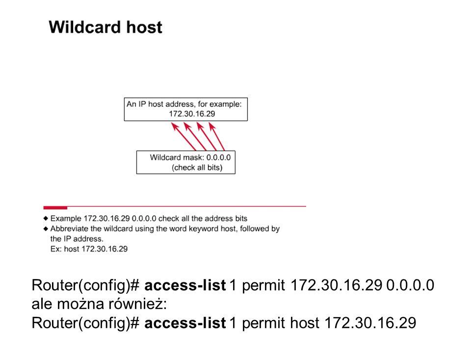 Router(config)# access-list 1 permit 172.30.16.29 0.0.0.0 ale można również: Router(config)# access-list 1 permit host 172.30.16.29