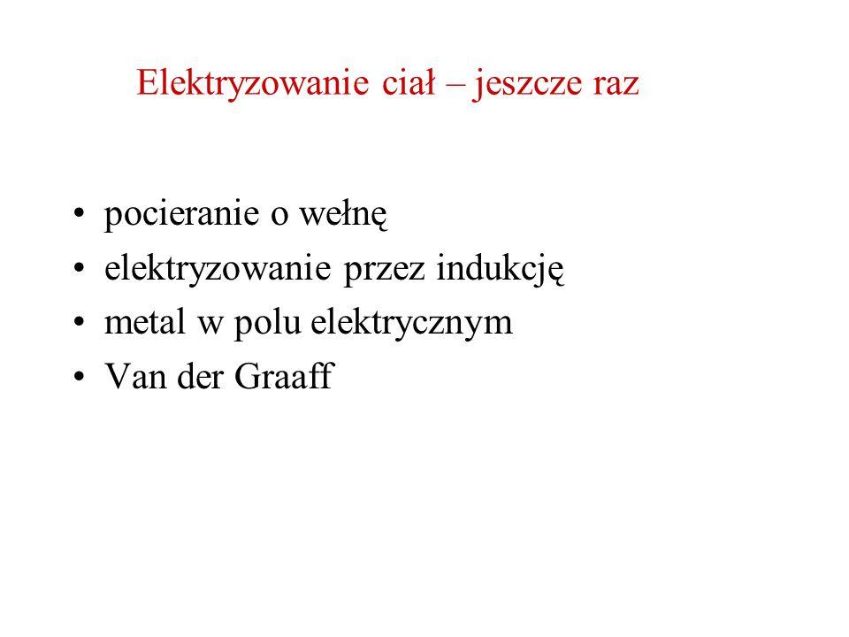 Elektryzowanie ciał – jeszcze raz pocieranie o wełnę elektryzowanie przez indukcję metal w polu elektrycznym Van der Graaff