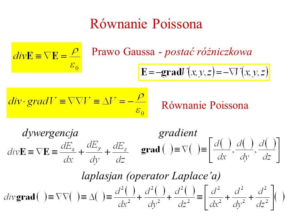 Równanie Poissona Prawo Gaussa - postać różniczkowa Równanie Poissona laplasjan (operator Laplacea) dywergencjagradient