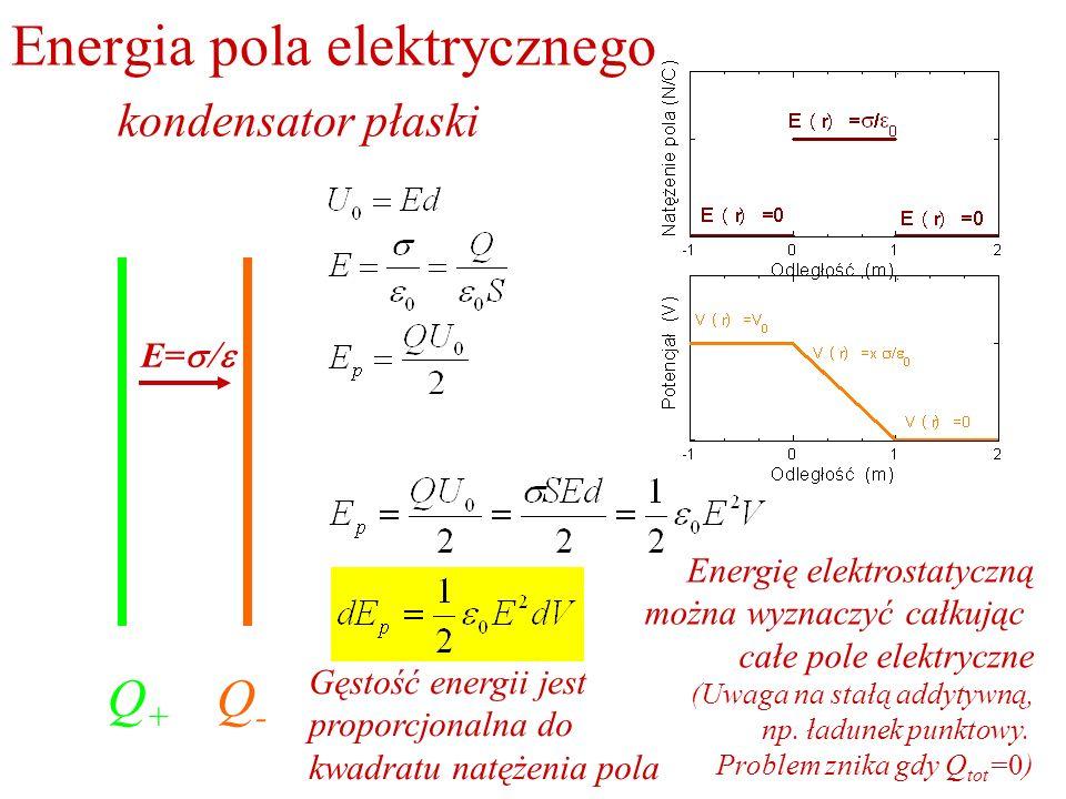 Energia pola elektrycznego kondensator płaski Q+Q+ Q-Q- E= Energię elektrostatyczną można wyznaczyć całkując całe pole elektryczne (Uwaga na stałą add