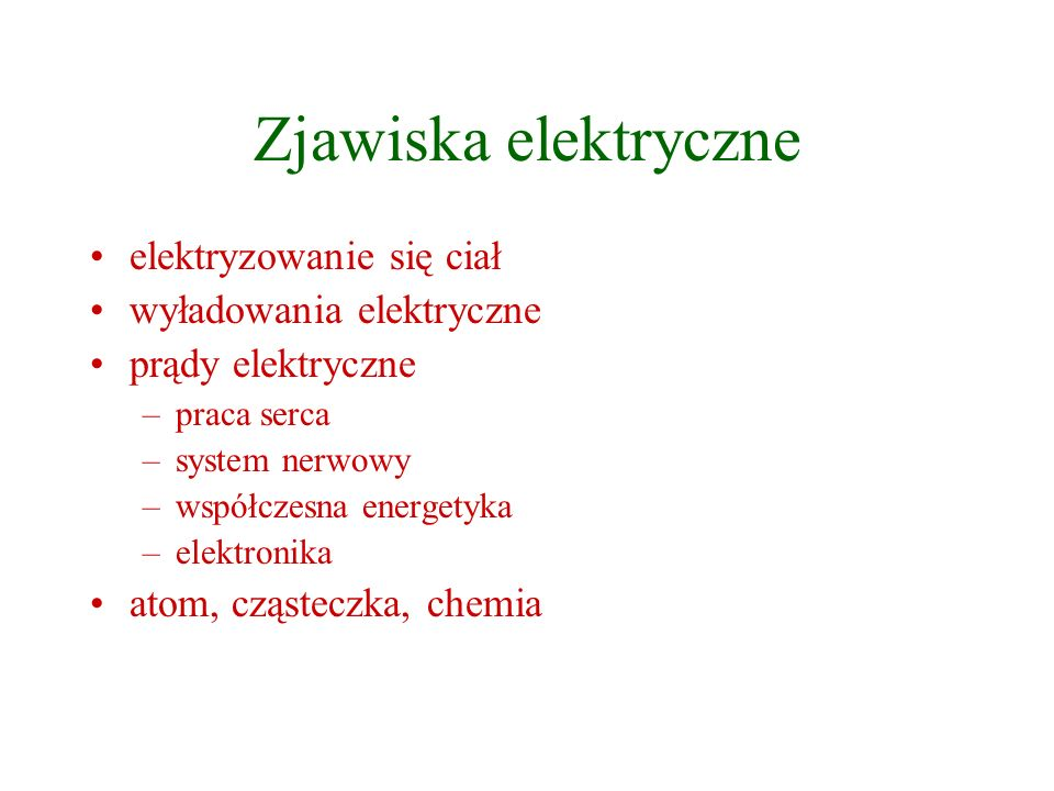 Zjawiska elektryczne elektryzowanie się ciał wyładowania elektryczne prądy elektryczne –praca serca –system nerwowy –współczesna energetyka –elektroni