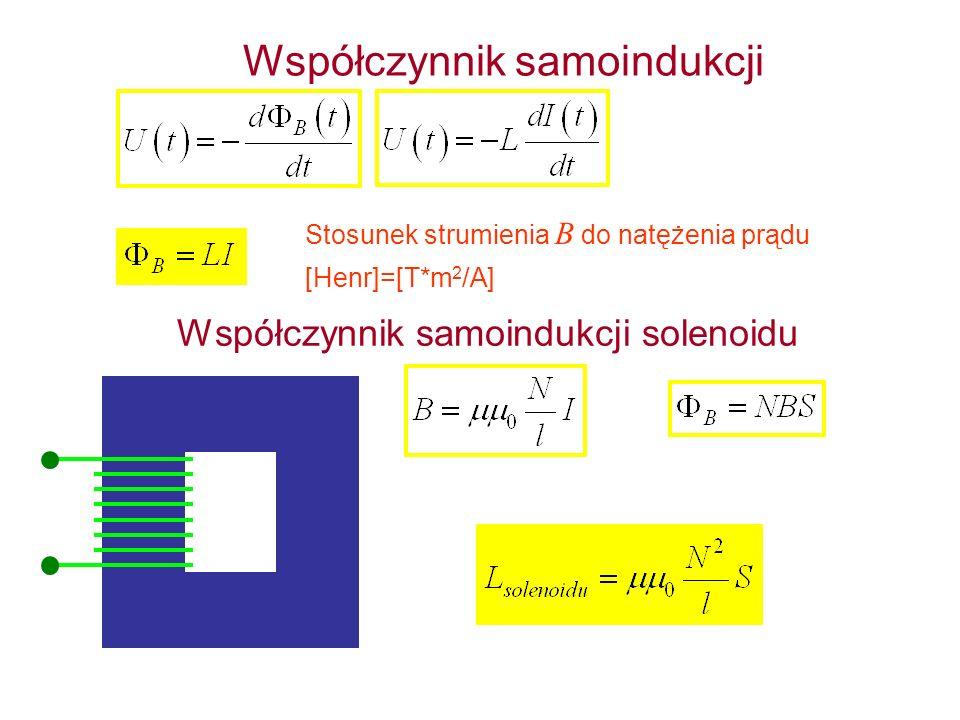 Współczynnik samoindukcji Stosunek strumienia B do natężenia prądu Współczynnik samoindukcji solenoidu [Henr]=[T*m 2 /A]