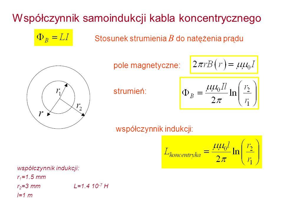 Współczynnik samoindukcji kabla koncentrycznego Stosunek strumienia B do natężenia prądu pole magnetyczne: strumień: współczynnik indukcji: r 1 =1.5 m