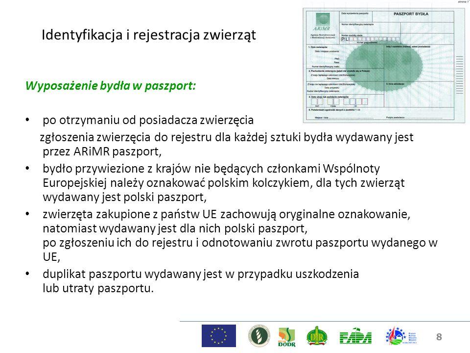 8 Identyfikacja i rejestracja zwierząt Wyposażenie bydła w paszport: po otrzymaniu od posiadacza zwierzęcia zgłoszenia zwierzęcia do rejestru dla każd