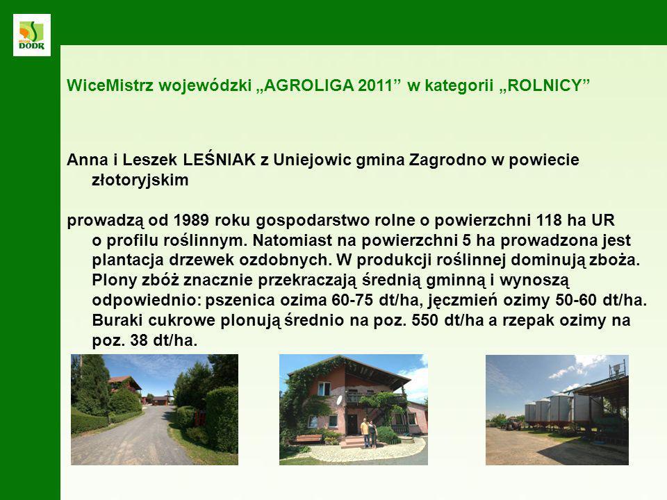 Anna i Leszek LEŚNIAK z Uniejowic gmina Zagrodno w powiecie złotoryjskim prowadzą od 1989 roku gospodarstwo rolne o powierzchni 118 ha UR o profilu ro