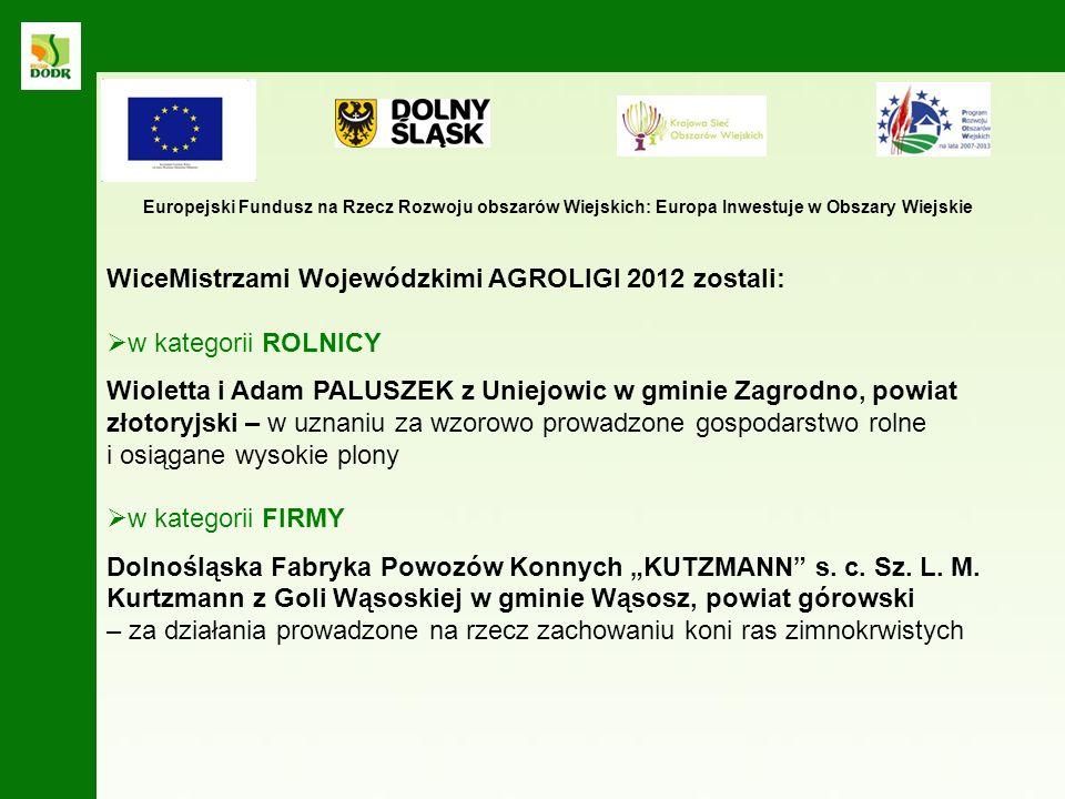 Wioletta i Adam PALUSZEK z Uniejowic w gminie Zagrodno, powiat złotoryjski samodzielnie prowadzą gospodarstwo rolne od 1996 roku powiększając jego powierzchnię z 6 do aktualnie 72 ha a planują dalsze powiększenie powierzchni gospodarstwa.