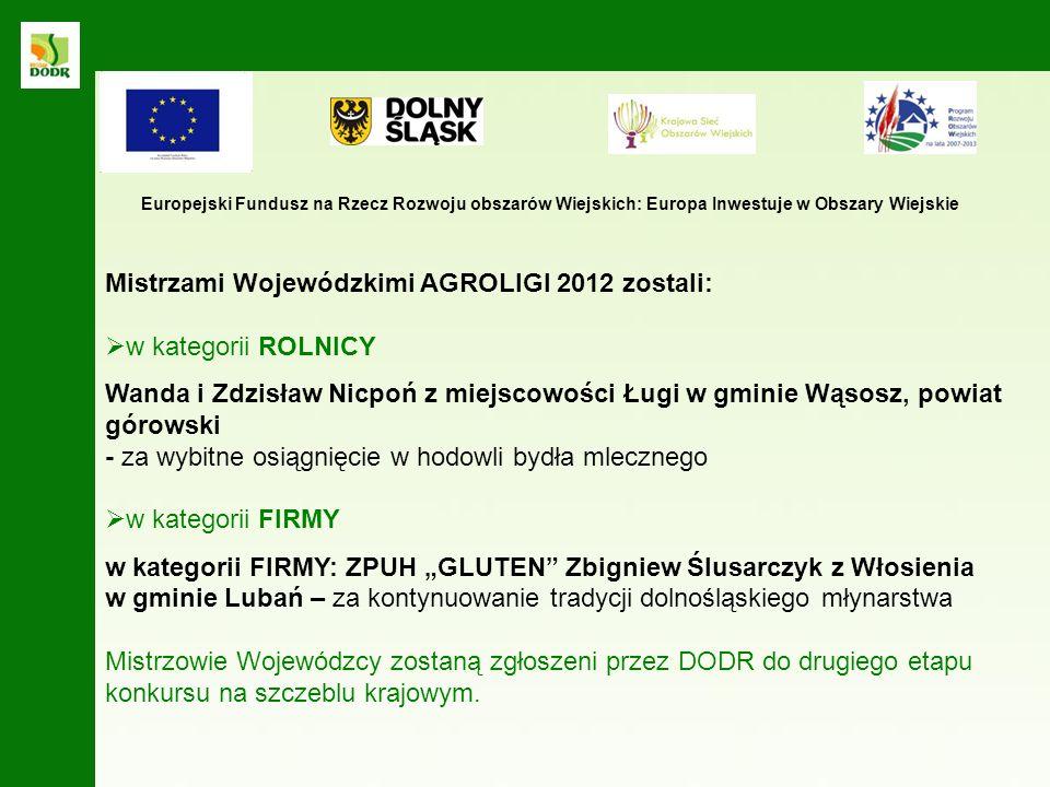 Wanda i Zdzisław Nicpoń z miejscowości Ługi w gminie Wąsosz, powiat górowski - - prowadzą gospodarstwo o powierzchni 160 ha, specjalizujące się w hodowli bydła mlecznego.