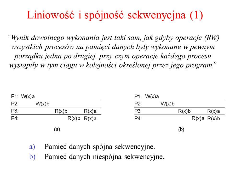 Liniowość i spójność sekwenycjna (1) a)Pamięć danych spójna sekwencyjne. b)Pamięć danych niespójna sekwencyjne. Wynik dowolnego wykonania jest taki sa