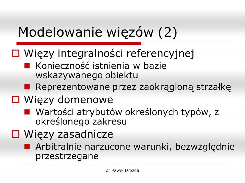 dr Paweł Drozda Modelowanie więzów (2) Więzy integralności referencyjnej Konieczność istnienia w bazie wskazywanego obiektu Reprezentowane przez zaokr