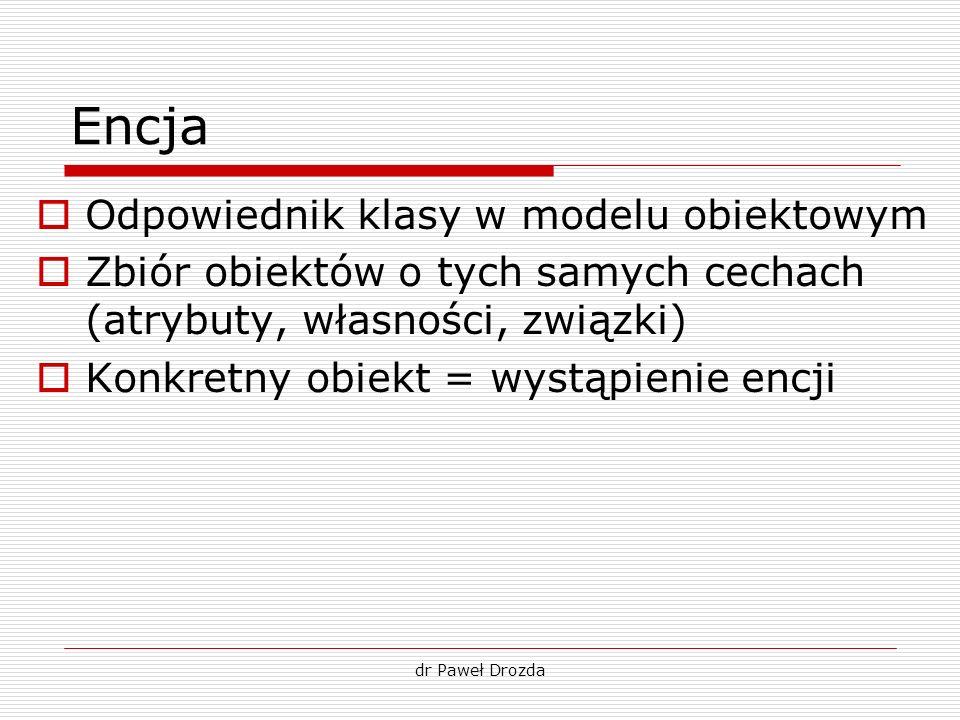 dr Paweł Drozda Encja Odpowiednik klasy w modelu obiektowym Zbiór obiektów o tych samych cechach (atrybuty, własności, związki) Konkretny obiekt = wys