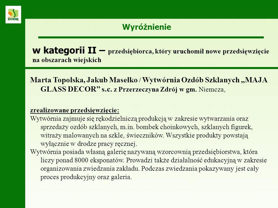 Wyróżnienie Marta Topolska, Jakub Masełko / Wytwórnia Ozdób Szklanych MAJA GLASS DECOR s.c. z Przerzeczyna Zdrój w gm. Niemcza, zrealizowane przedsięw