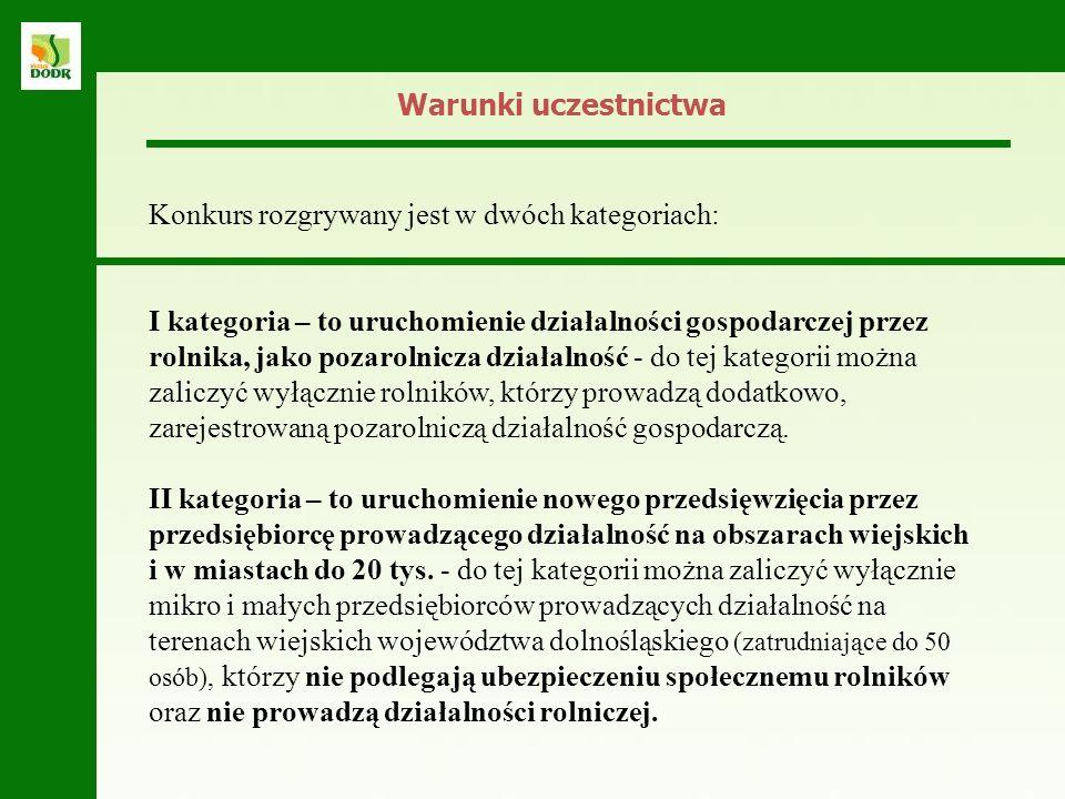 Warunki uczestnictwa Konkurs rozgrywany jest w dwóch kategoriach: I kategoria – to uruchomienie działalności gospodarczej przez rolnika, jako pozaroln