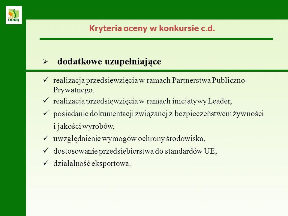 Kryteria oceny w konkursie c.d.