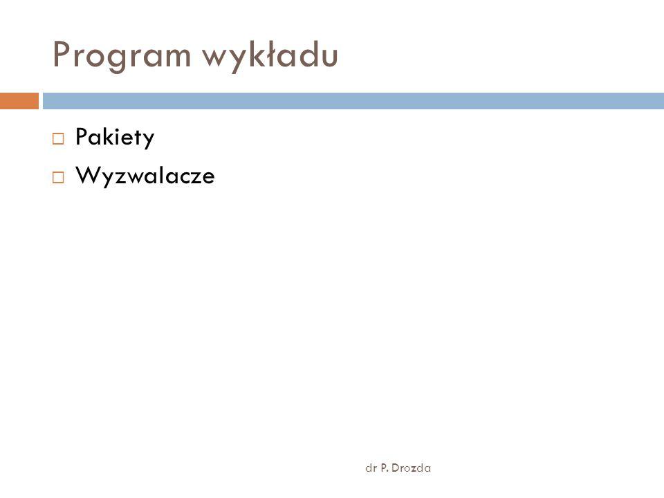 Program wykładu dr P. Drozda Pakiety Wyzwalacze